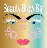 Beauty brow bar, face with flawless eyebrows Royalty Free Stock Photography