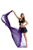 Beauty brunette dance with cloth isolated Royalty Free Stock Images