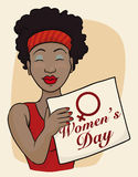 Beauty Brunette Holding a Banner with Women's Day Message, Vector Illustration. Beauty brown woman with red dress and banner with Women's Day symbol and message Stock Images