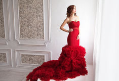 Beauty Brunette model woman in evening red dress. Beautiful fash Royalty Free Stock Photography
