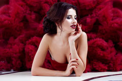 Beauty Brunette model woman in evening red dress. Beautiful fashion luxury makeup and hairstyle Stock Photos