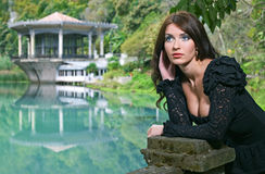 Beauty Brunette woman in Abkhazia forest Royalty Free Stock Image