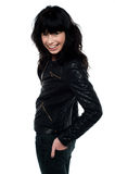 Beauty brunette woman in leather jacket Stock Photo