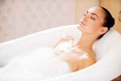 Beauty in bubble bath. Royalty Free Stock Photo