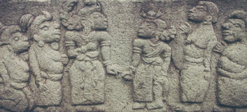 Beauty Buddhism Relief in The Temple Stock Images