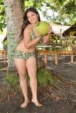 Beauty with Buko fruit Stock Photo