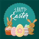 Beauty bunnies with decorative baskets egg happy easter label ornament. Vector illustration Royalty Free Stock Images