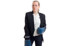 Beauty business lady in suit with boxing gloves Royalty Free Stock Images
