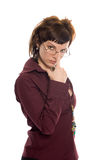 Beauty business woman look glasses. On white background Stock Images