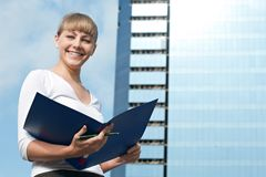 Beauty business woman on modern glass building Stock Image