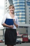 Beauty business woman on modern glass building Stock Photos