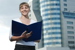 Beauty business woman on modern glass building Royalty Free Stock Photography