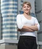 Beauty business woman on modern glass building Royalty Free Stock Photos