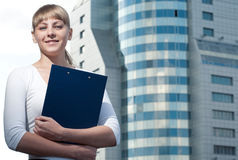 Beauty Business Woman On Modern Glass Building Stock Photo