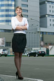 Beauty Business Woman On Modern Glass Building Stock Photography