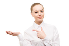 Beauty business woman portrait. Proposing a product. Beautiful g. Irl showing empty copy space on the open hand palm for text. Gestures for advertisement Stock Photo