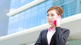 Business woman speak phone. Beauty business woman unhappy speak phone with office Royalty Free Stock Photography