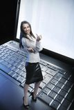 Beauty businesswoman. On the laptop royalty free stock photography