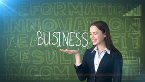 Beauty businesswoman on painted background with marketing words. Advertising, investment and business plan concept. Beauty businesswoman in suit on painted royalty free stock photos
