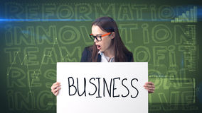 Beauty businesswoman on painted background with marketing words. Advertising, investment and business plan concept. Beauty businesswoman in suit on painted royalty free stock image