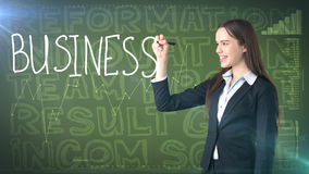 Beauty businesswoman on painted background with marketing words. Advertising, investment and business plan concept. Beauty businesswoman in suit on painted stock photos