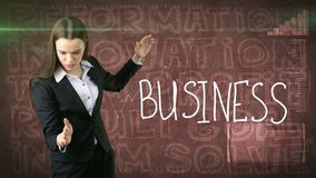 Beauty businesswoman on painted background with marketing words. Advertising, investment and business plan concept. Beauty businesswoman in suit on painted stock photo