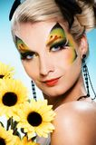 Beauty with butterfly face-art Royalty Free Stock Photos