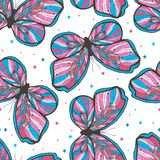 Beauty butterfly hand drawn seamless pattern illustration. Decorative vintage style. Vector doodle element. royalty free illustration
