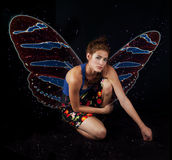 Beauty with butterfly wings Stock Images