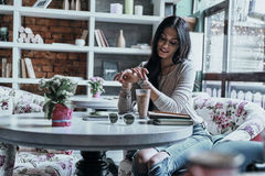 Beauty in cafe. Royalty Free Stock Photos