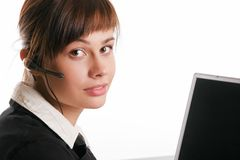Beauty call center operator Royalty Free Stock Images
