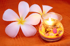 Beauty candle with frangipani Royalty Free Stock Photography