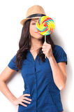 Beauty with candy. Royalty Free Stock Photo