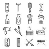 Beauty and Care Barber Shop Linear Icons Stock Photo