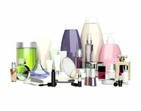 Daily, beauty care cosmetic and make-up products. Face cream, ey Stock Photos