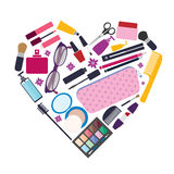 Beauty and care, cosmetic products and make up elements Royalty Free Stock Photos