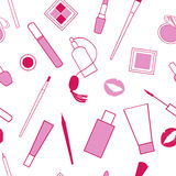 Beauty and care cosmetics red and pink white vector seamless pattern. March 8 Royalty Free Stock Photo