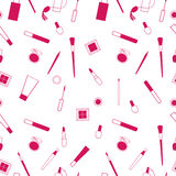 Beauty and care cosmetics red and white vector seamless pattern. March 8. Make up beauty products pattern royalty free illustration