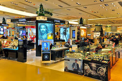 Beauty care products outlet, hong kong. Retail outlets of various branded beauty skincare, makeup, fragrance and hair care products on display at sogo department royalty free stock images