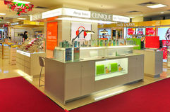 Beauty care products outlets, hong kong. Various branded skincare, makeup, fragrance and related care products on display at the prestigious wing on shopping Stock Images