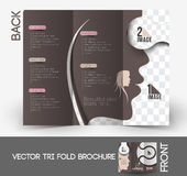 Beauty Care & Salon Tri-Fold Brochure Stock Image