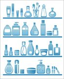 Beauty and care silhouettes. Beauty and care products silhouettes, cosmetic and self vare Stock Images