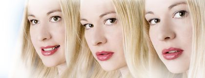 Beauty care - three female faces royalty free stock photo
