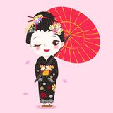 Beauty cartoon geisha. On the pink background Royalty Free Stock Image