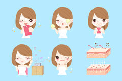 Beauty cartoon woman. With skin care concept Stock Images