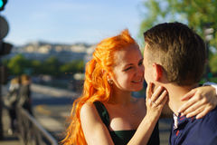 Beauty caucasian couple in Paris Royalty Free Stock Photos
