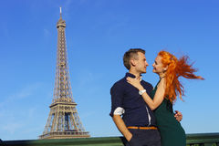 Beauty caucasian couple in Paris Royalty Free Stock Photography