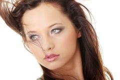 Beauty caucasian woman face Stock Photos
