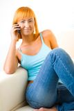 Beauty on cellphone Royalty Free Stock Images
