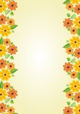 Beauty cheerful yellow background with floral motif on the sides. Vertical oriented template with place for own message on old yel Royalty Free Stock Image